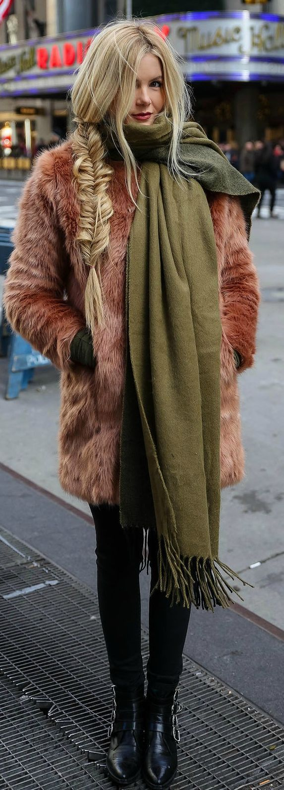 Olive Green Oversize Scarf, blush faux fur coat