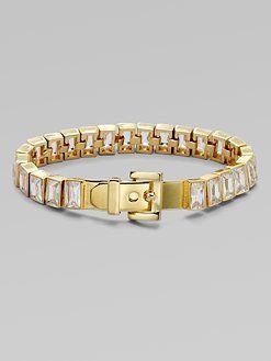 Michael Kors Baguette Stone Tennis Bracelet Goldtone