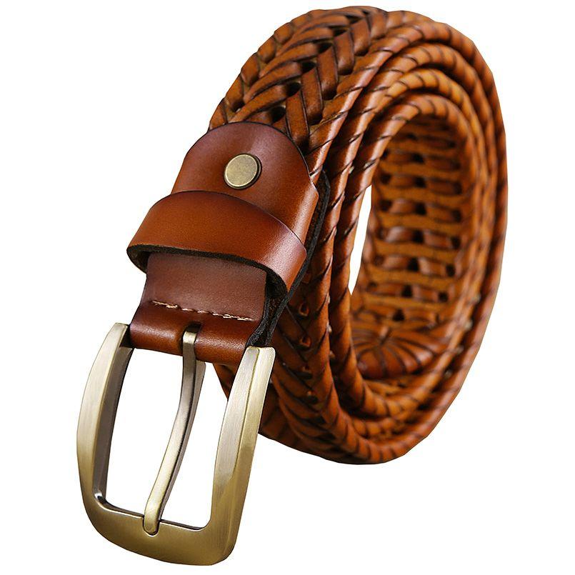 2016 Nueva Trenzada Cinturón de Hombre de Moda Para Hombre cinturones de  lujo de cuero genuino 36b26146fe54