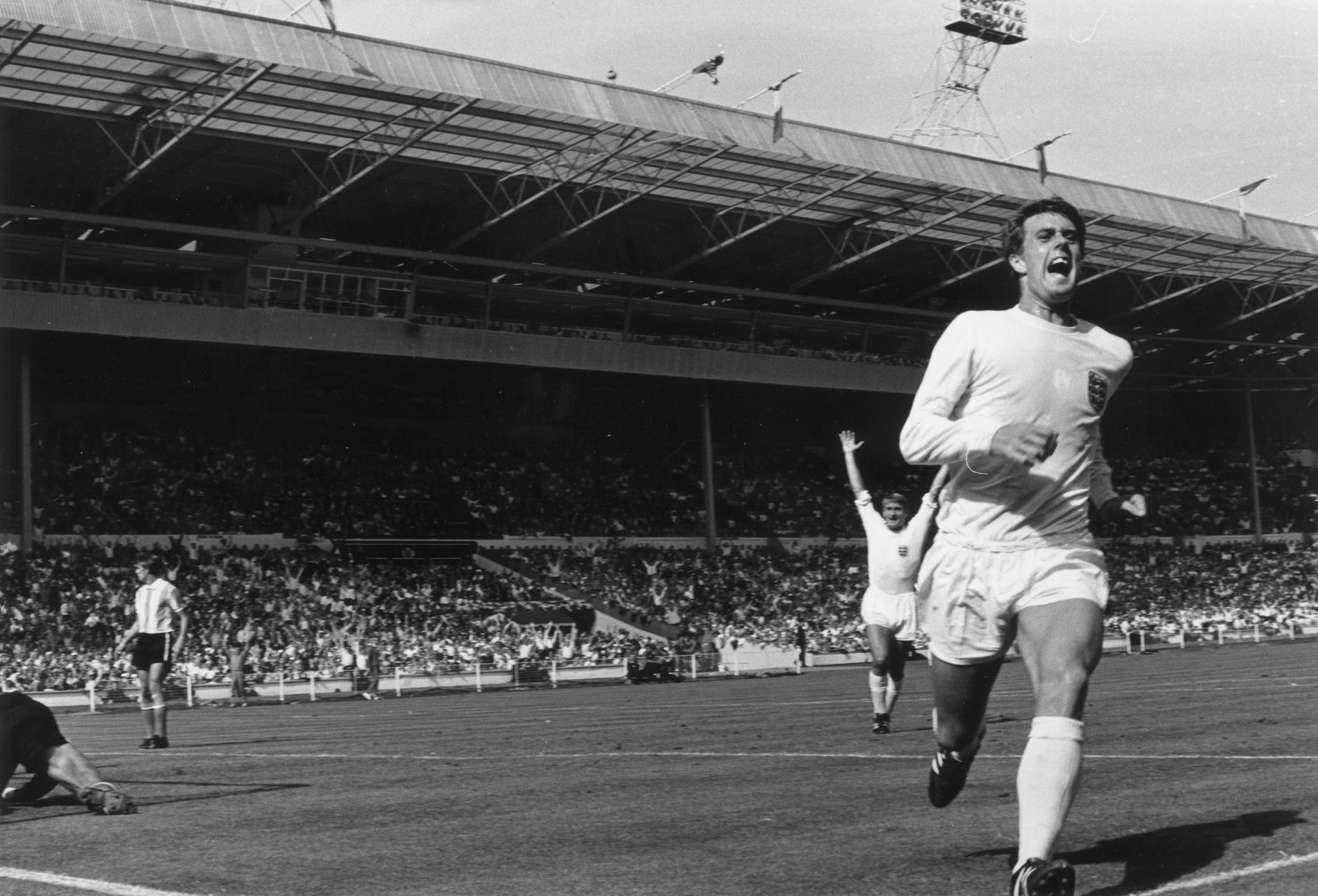 Geoff Hurst scores in the World Cup quarter final game