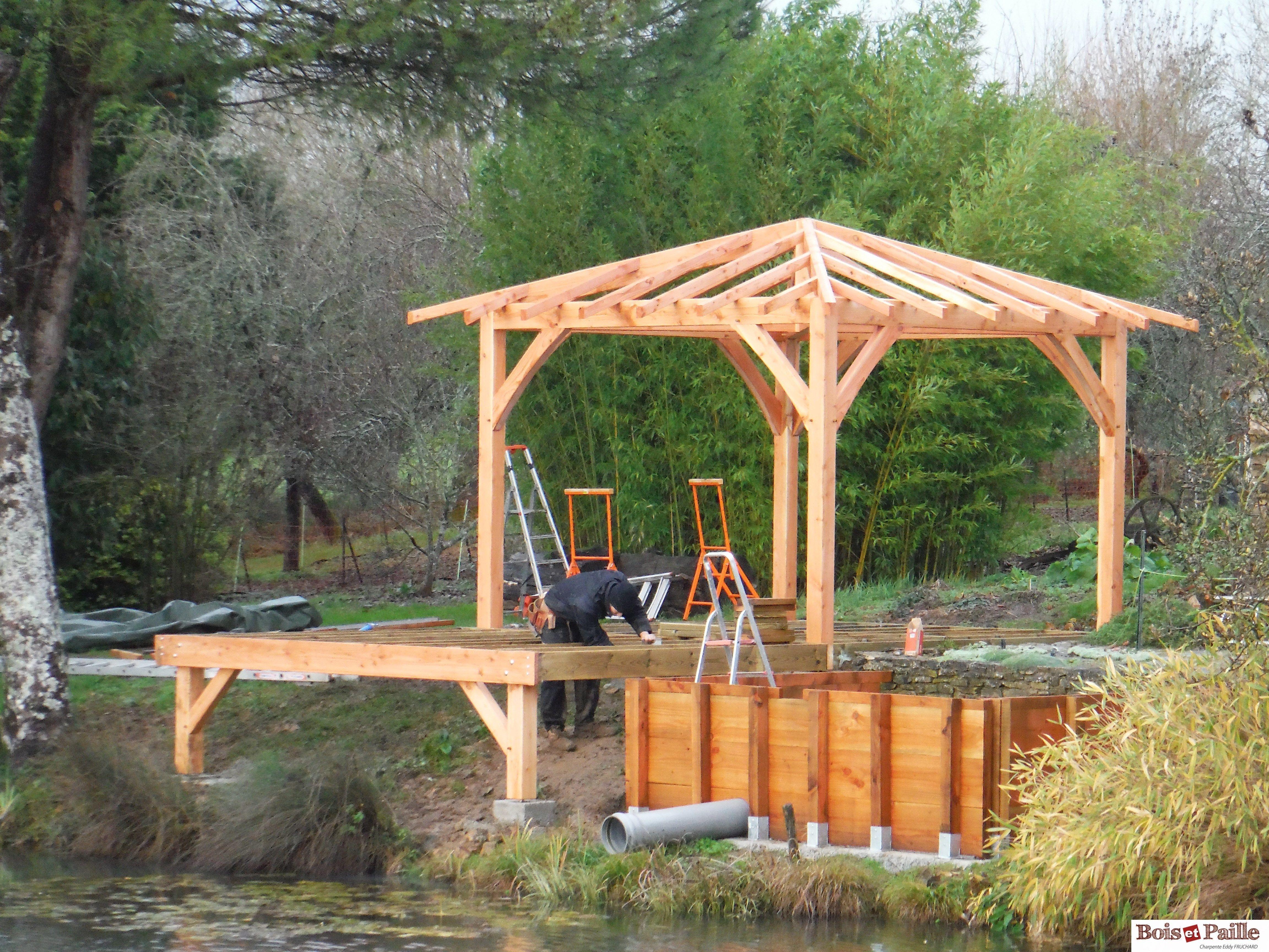 Prix Kiosque Pour Jardin Avec Terrasse Bois Toiture 4 Pans Couverture En Zing Pour Jardin Bois Et Paille Char Patio En Bois Jardin Avec Terrasse Terrasse Bois