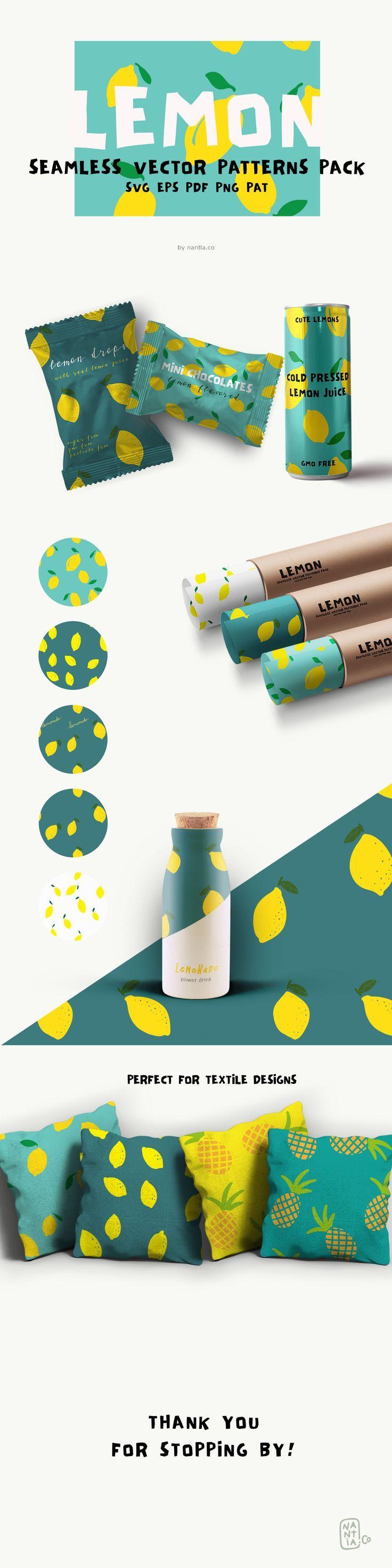 Lemon Seamless Vector Patterns Pack. Buy patterns by Nantia.co