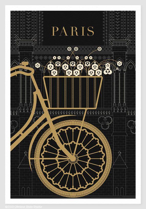 Paris Illustration, Notre Dame Bicycle Drawing, Art Print, Paris Print, Black and Gold, Art Deco, Nichole Robertson