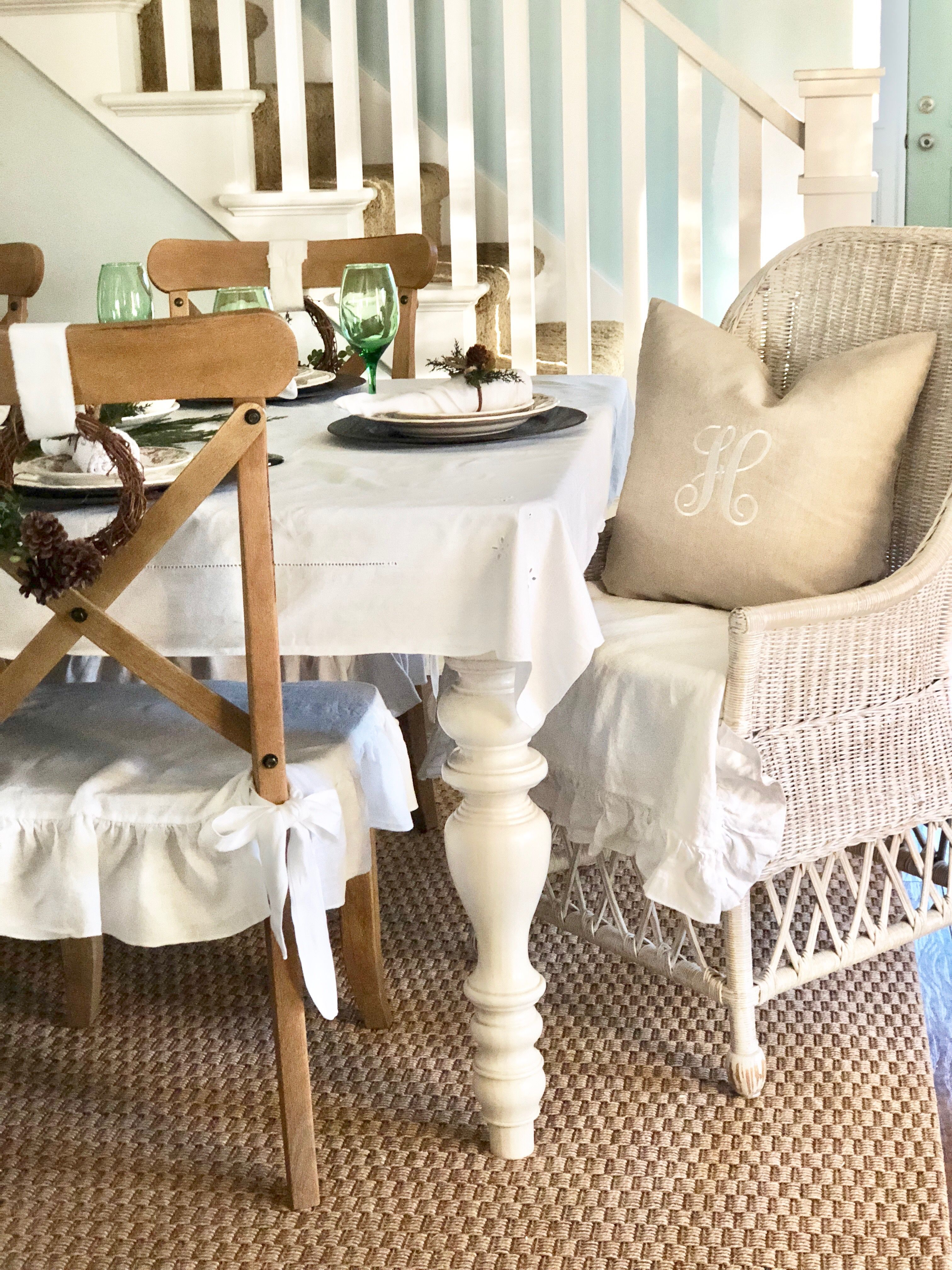 Christmas Chair Covers Pinterest Kmart Table And Chairs Outdoor Linen Cover Regular Dining Farmhouse Decor Oscar French Slip Monogramming Services Slipcovers