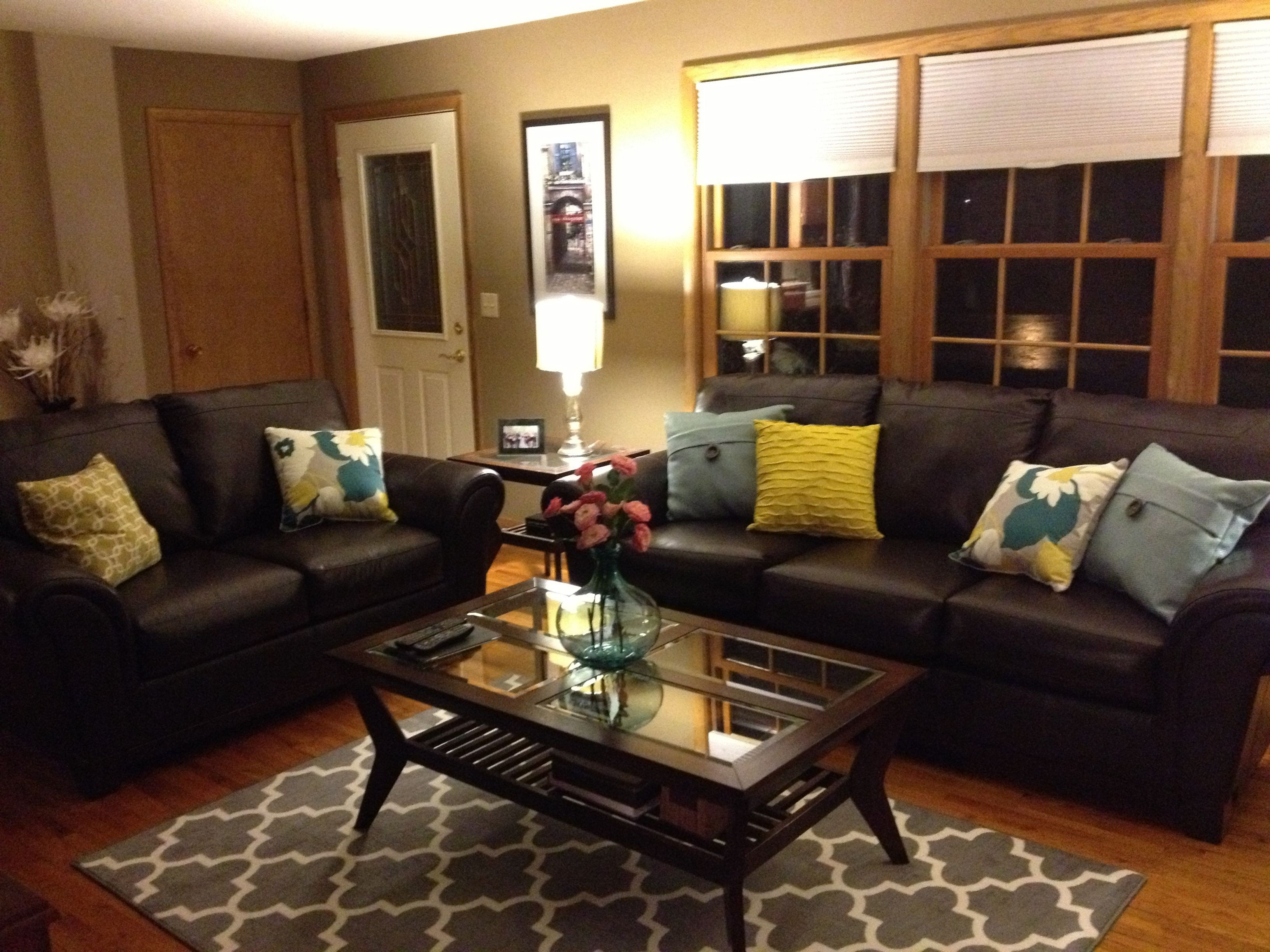 Brown Living Room Decorating Ideas Brown Leather Sofa And Colo