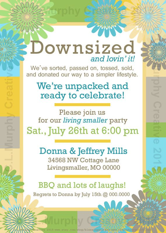 Housewarming Invitation New Home Downsizing By Blessinganother
