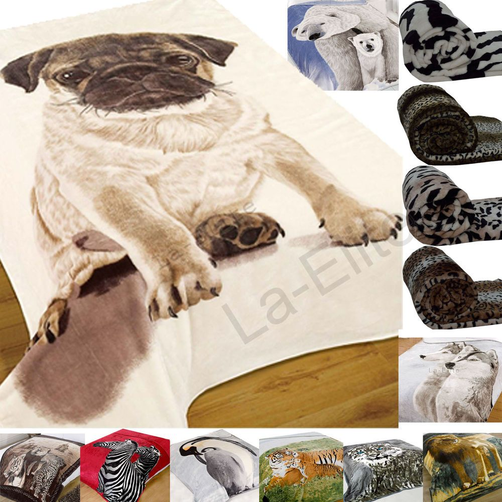 Luxury Quality Cosy Soft 2 Dogs Animal Print Throws Sofa Bed Blanket Polyester