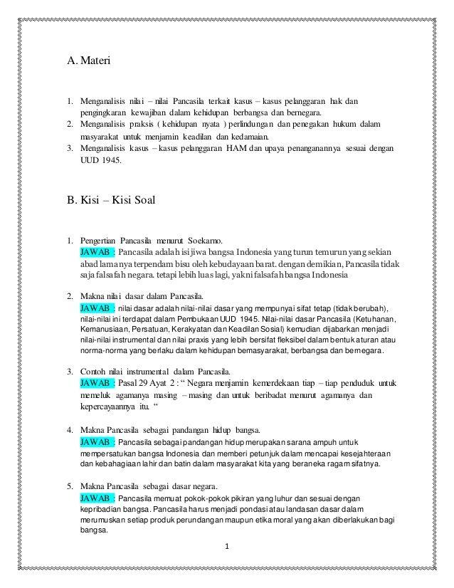 1a Materi1 Menganalisis Nilai Nilai Pancasila Terkait Kasus Kasus Pelanggaran Hak Danpengingkaran Kewajiban Dalam Semester Dan