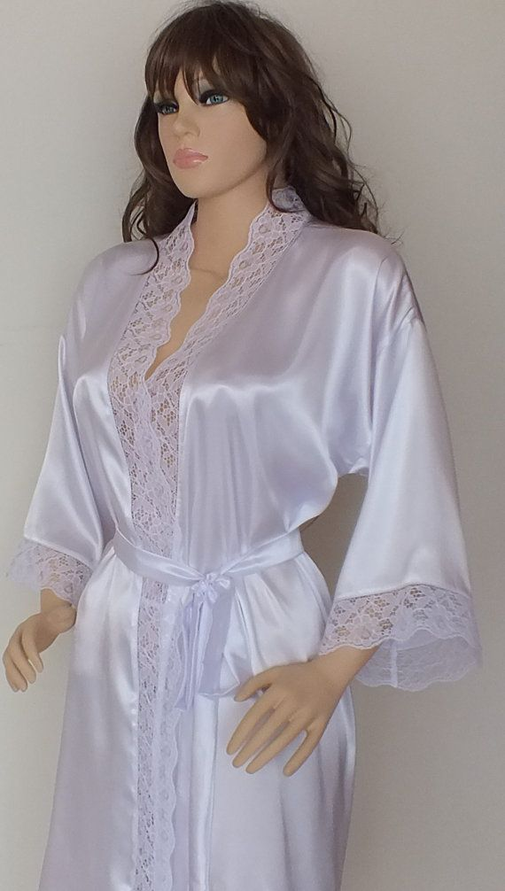 White Silk robe with lace Bridal robe getting by LoveBirdsCo Bridal Robes 945331192
