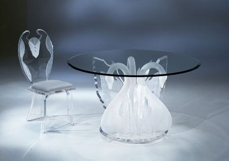 LEGEND SWAN ROUND DINETTE TABLE BASE by Shahrooz shahrooz-art.com - #AcrylicFurniture, #LuciteFurniture ACRYLICORE by Shahrooz is one of the top-leading designers and manufacturers in Fine Clear Acrylic Furniture and #Sculptures in the country. www.shahrooz-art.com  888-406-4846