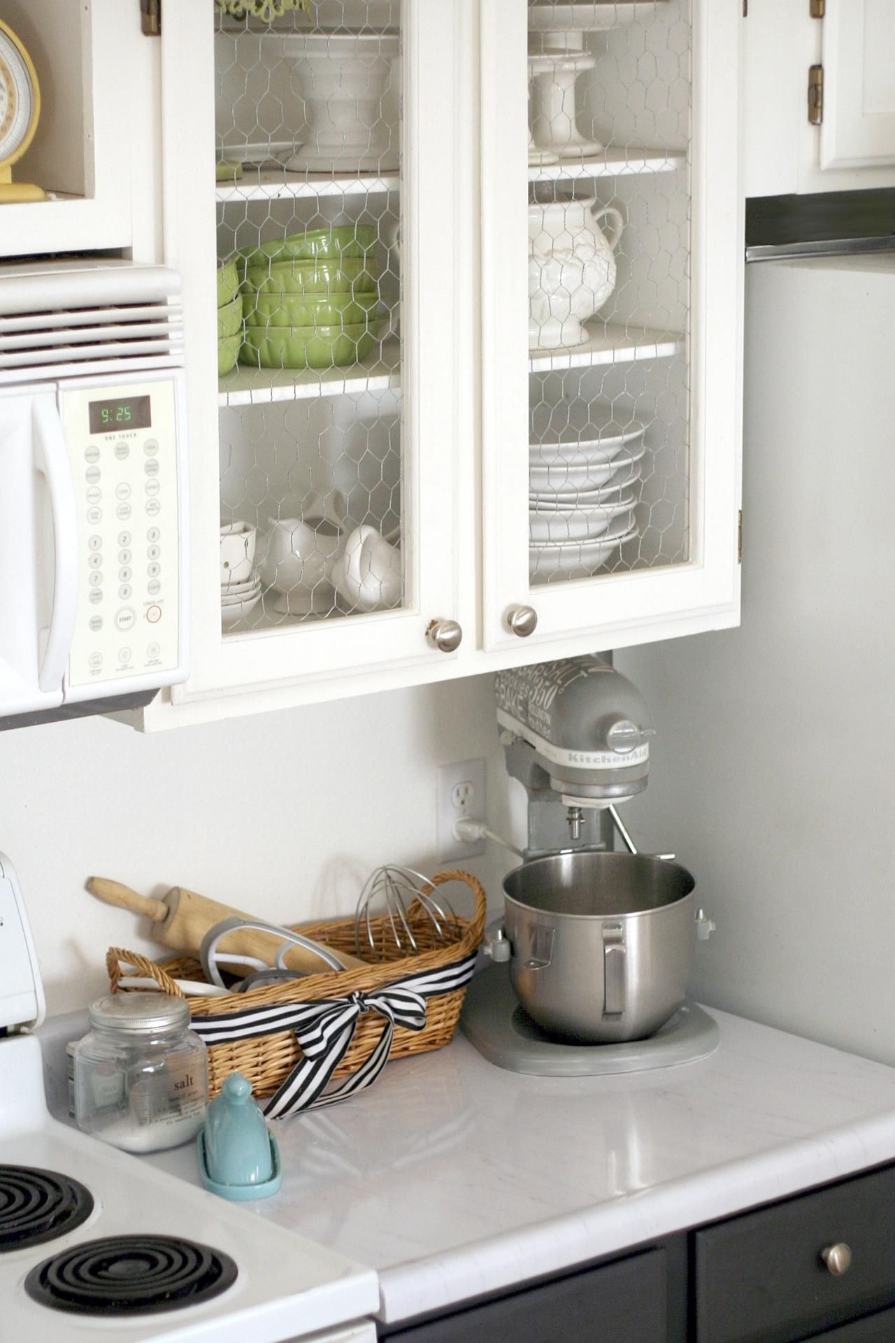 12 Easy Ways To Update Kitchen Cabinets Chicken Wire Cabinets Rustic Farmhouse Style Kitchen Kitchen Cabinets