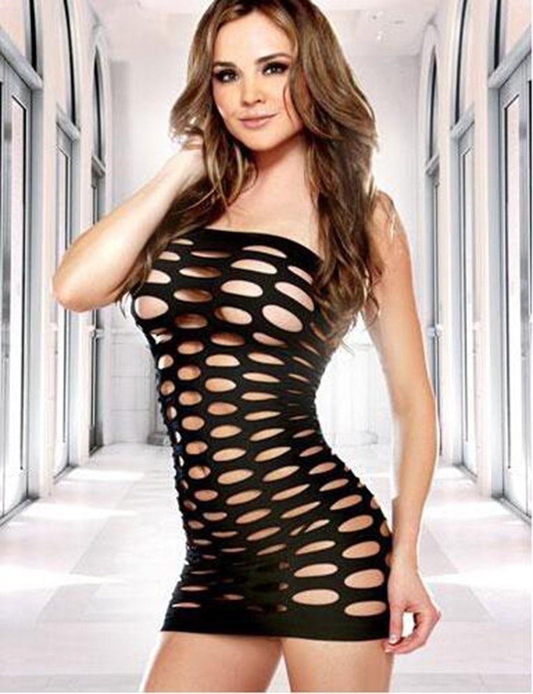 Amazon.com: Women Sexy Lingerie Tight Mesh Wrap Chest Nylon Short ...