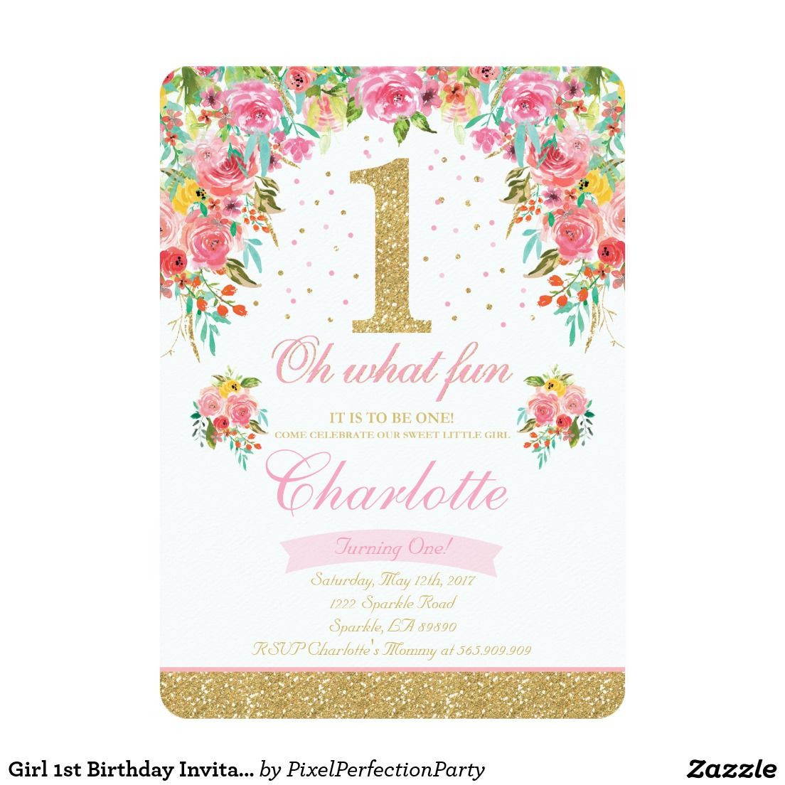 1st birthday invitation floral pink gold girl 1st birthday invitation floral pink gold stopboris Image collections