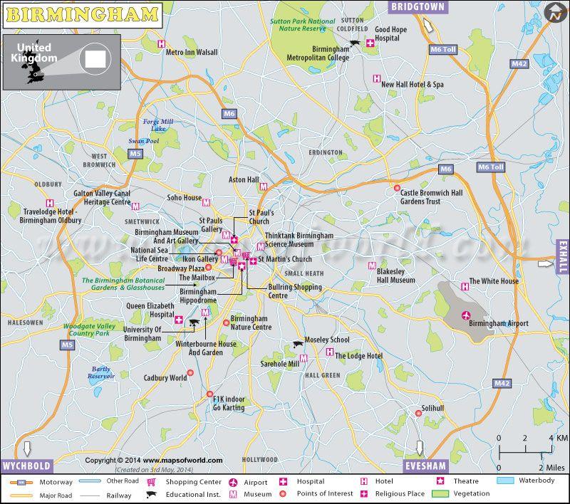 Birmingham Map UK Maps Images Pinterest West midlands City