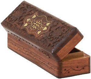 """Brown Wooden Watch Box for Men and Women - 8"""" Hand Carved Rosewood Jewelry Box Keepsake Box Available at joyfulcrown.com"""