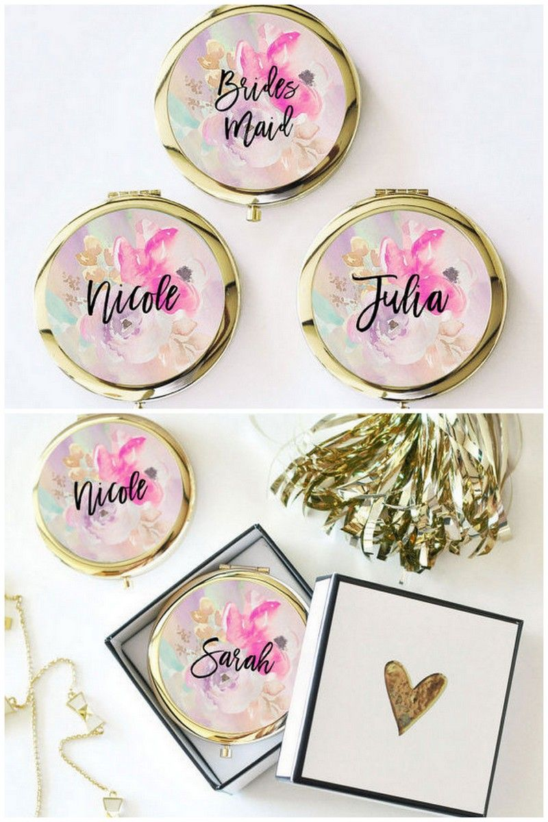 Bridesmaid Gifts Under 10 These Personalized Compact Mirrors Are Perfect For Your Squad