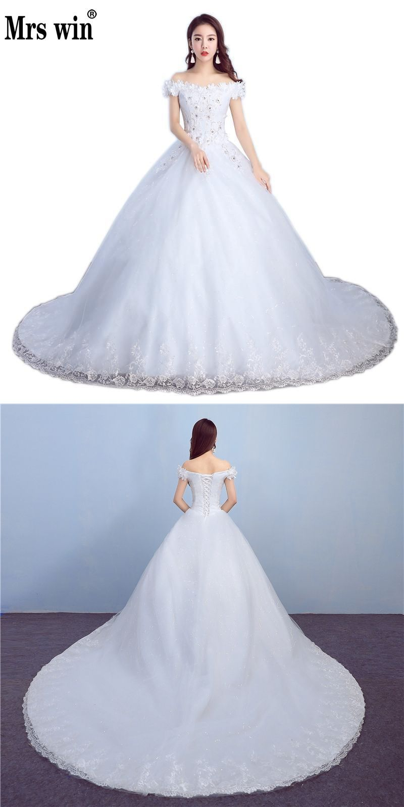 new applicue wedding dress with train boat neck flower vintage