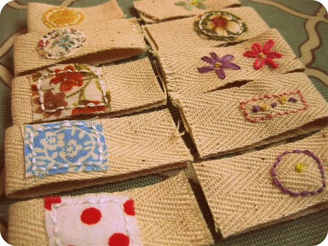 Handmade tags, inspired by Emma Lamb   #embroidery