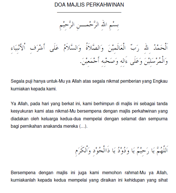 Bacaan Doa Pembuka Majlis Ringkas