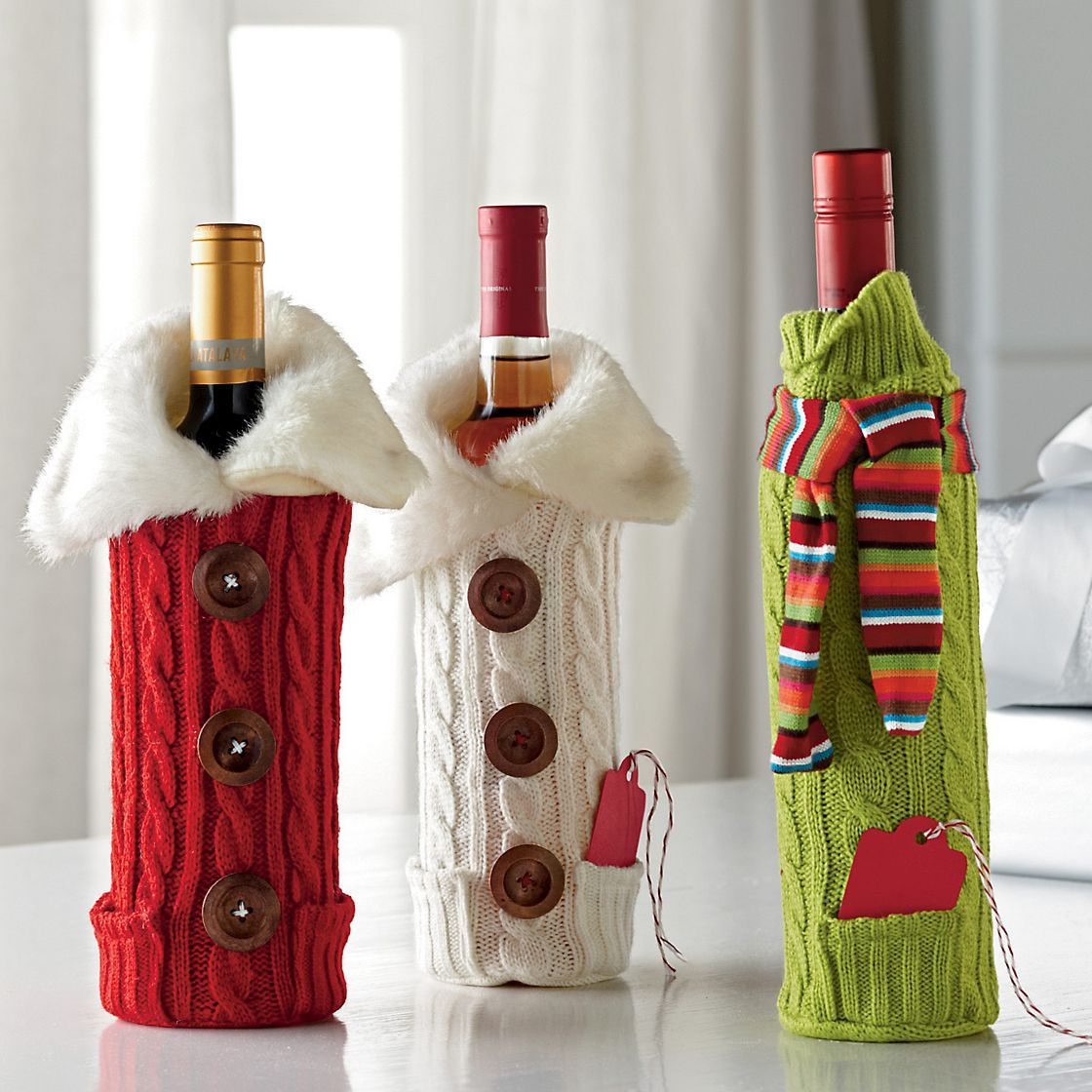 Wine Bottle Covers Red Button Fur Ivory Button Fur Green Scarf The Company Store Bottle Crafts Wine Bottle Covers Christmas Crafts