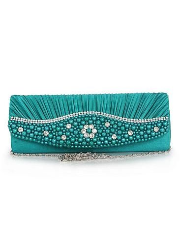 Elegant Turquoise Silk Handbags / Clutches with Handmade Beadings by DressilyMe