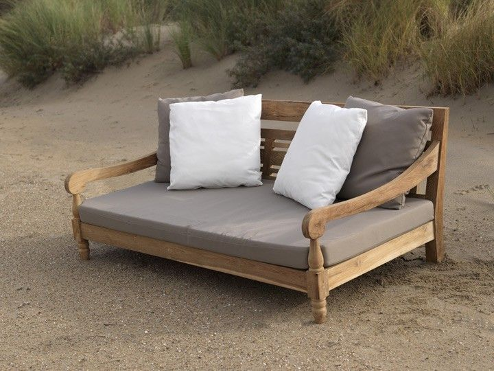 Kawan Lounge Garten Outdoor Sofa Teak Recycled Mit Kissen Decor