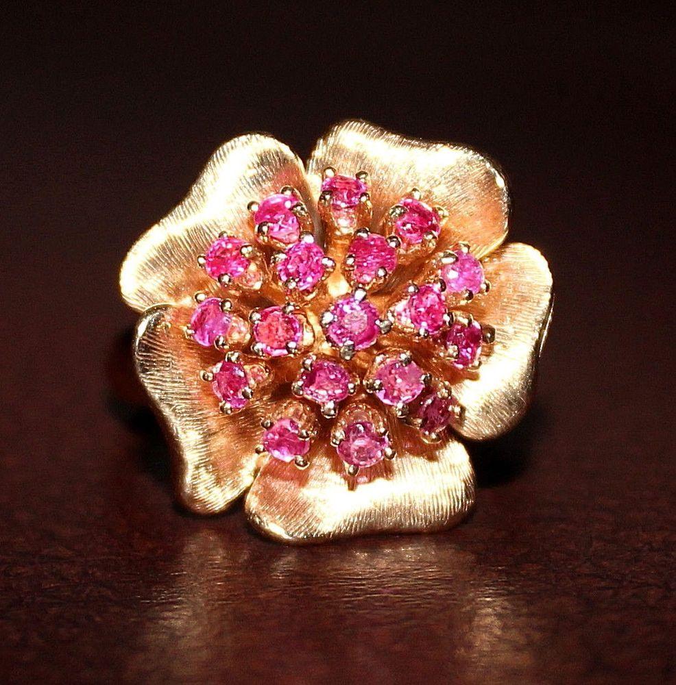 Feminine vintage 14k yellow gold ruby flower ring size 8