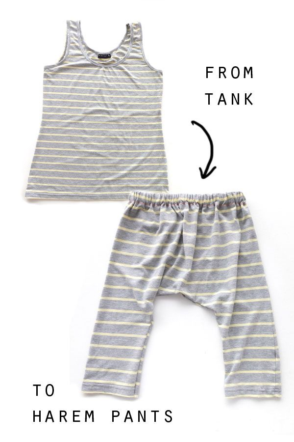 The Thrifty Kid How To Make Harem Pants From A Tank Top Oh Sew