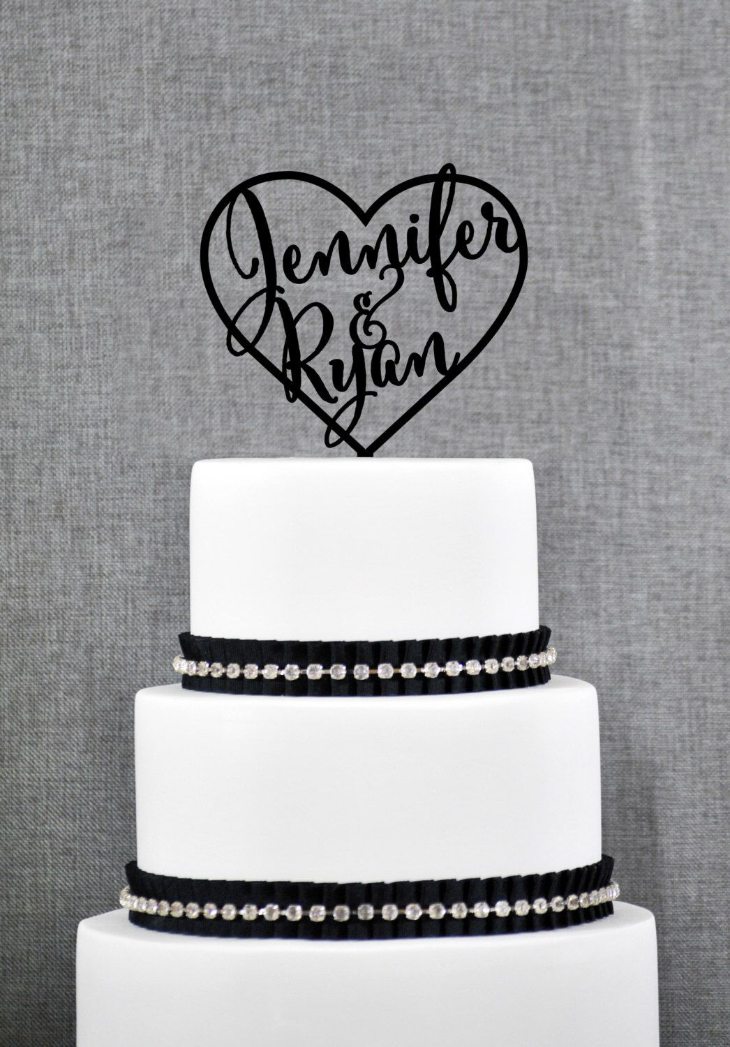Wedding Cake Toppers with First Names Inside Heart, Personalized Cake Toppers, Elegant Custom Mr and Mrs Wedding Cake Toppers - (S009) by ChicagoFactory on Etsy https://www.etsy.com/listing/219862816/wedding-cake-toppers-with-first-names