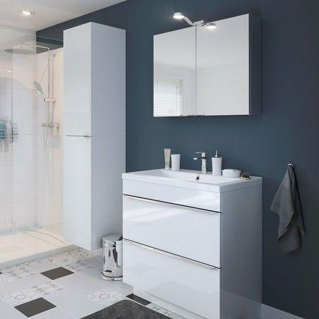 Meuble sous vasque à poser blanc  - brico carrelage salle de bain