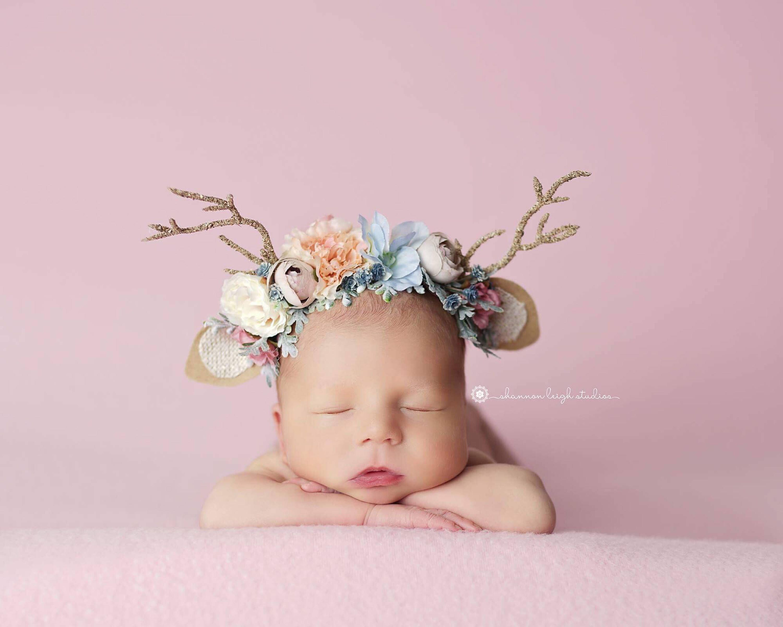 Deer Headband Baby Deer Headband Infant Headband Antler Headband Fall Headband Newborn Headband Baby Girl Headband Baby Headband