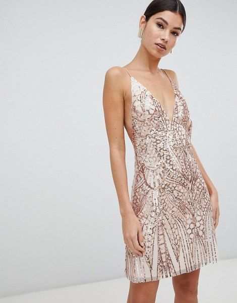 Love Triangle Sequin Embellished Cami Dress In Rose Gold In
