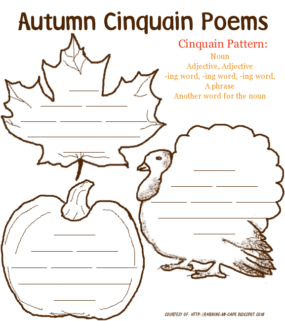 earning my cape autumn poetry printables for kids class language arts cinquain poems. Black Bedroom Furniture Sets. Home Design Ideas