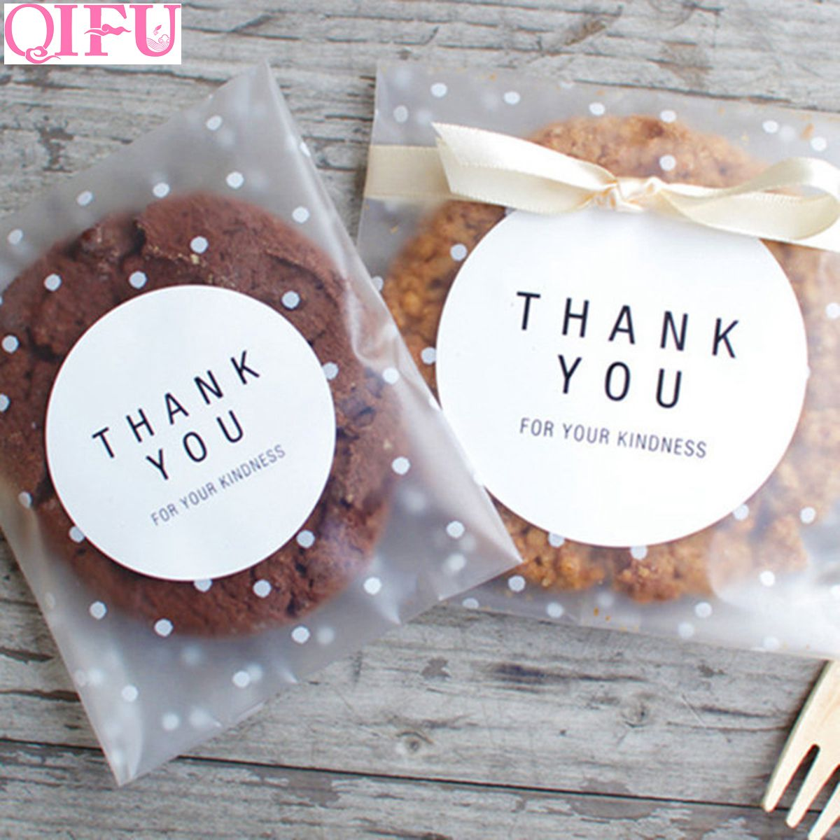 100pcs Plastic Sealing OPP Adhesive Cake Gift Packages Bag Bow Cookies Bag