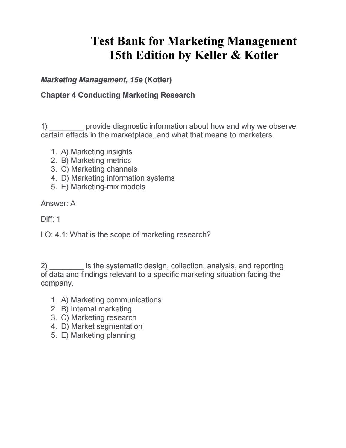 Kotler and keller market management 14e quiz answers