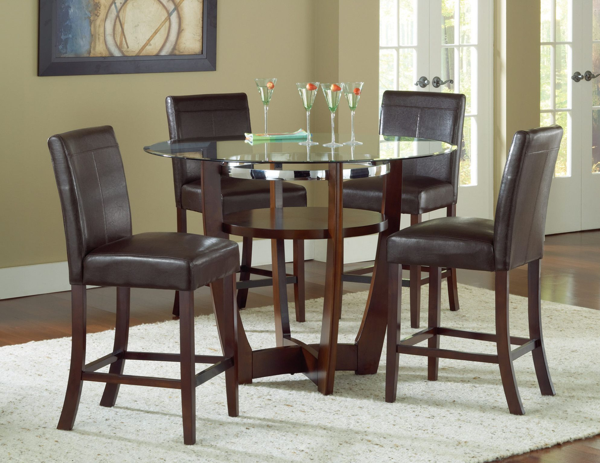 Venus Counter Height Glass Top Table And 4 Chairs Soft