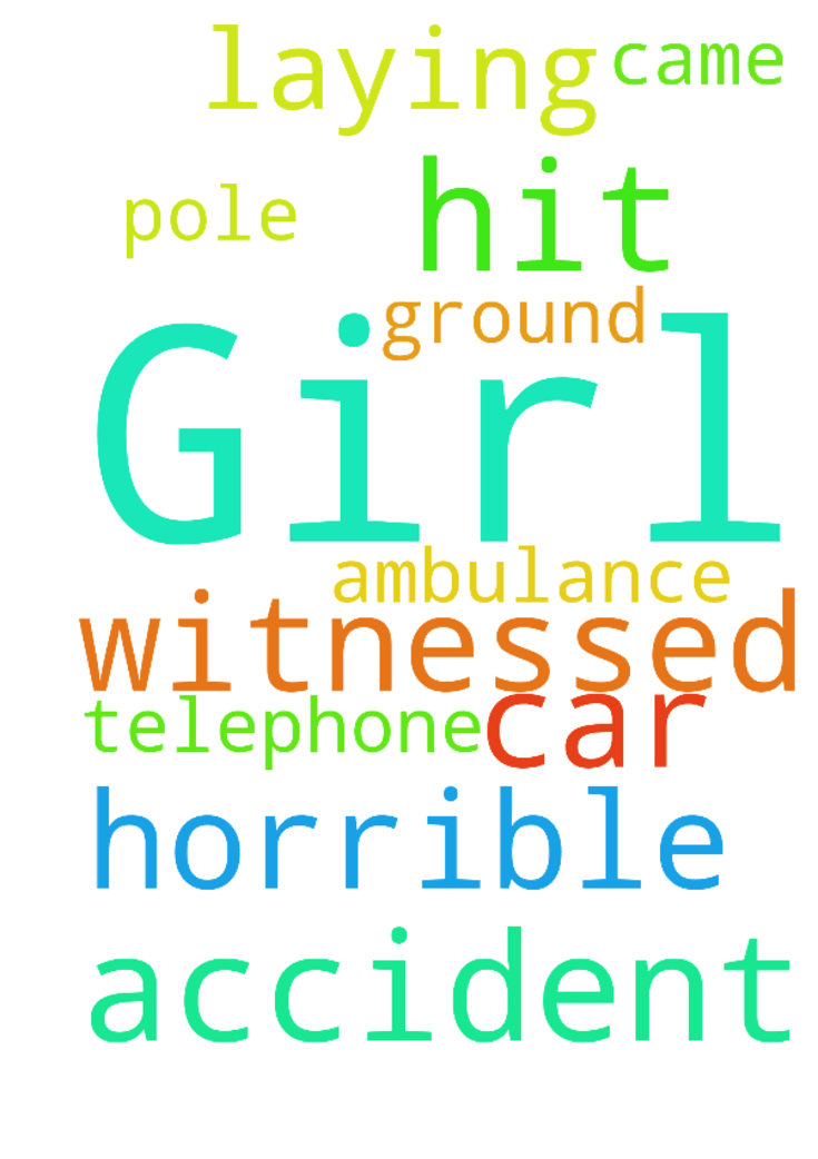 Girl -  I just witnessed a horrible car accident. The girl hit a telephone pole. She was laying on ground, ambulance came. Please pray for her.  Posted at: https://prayerrequest.com/t/Fnx #pray #prayer #request #prayerrequest