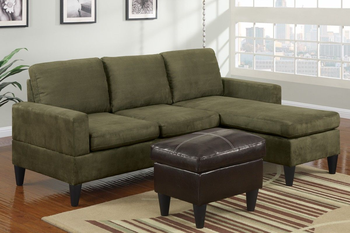 Green Microfiber Couch Grey Sectional