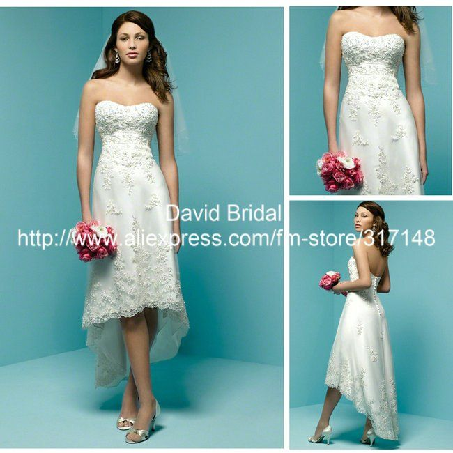 2 piece corset wedding dresses with short sleeves & short in front ...