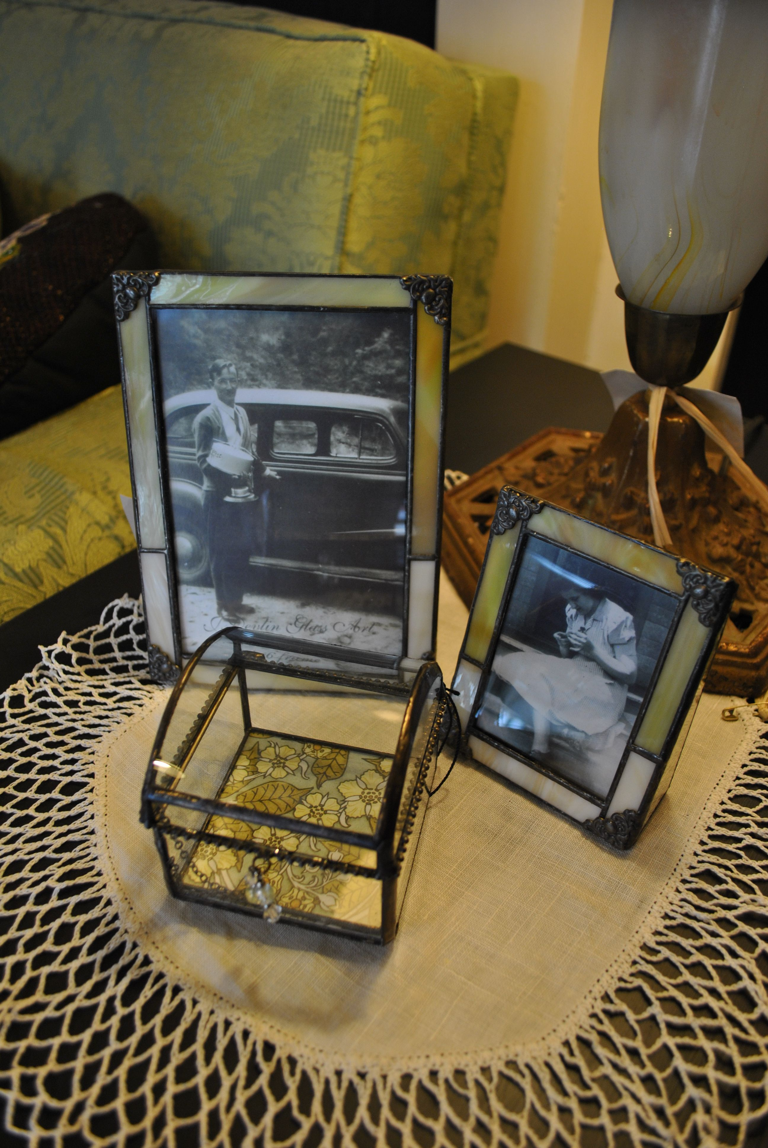 Vintage inspired leaded glass frames and glass boxes.