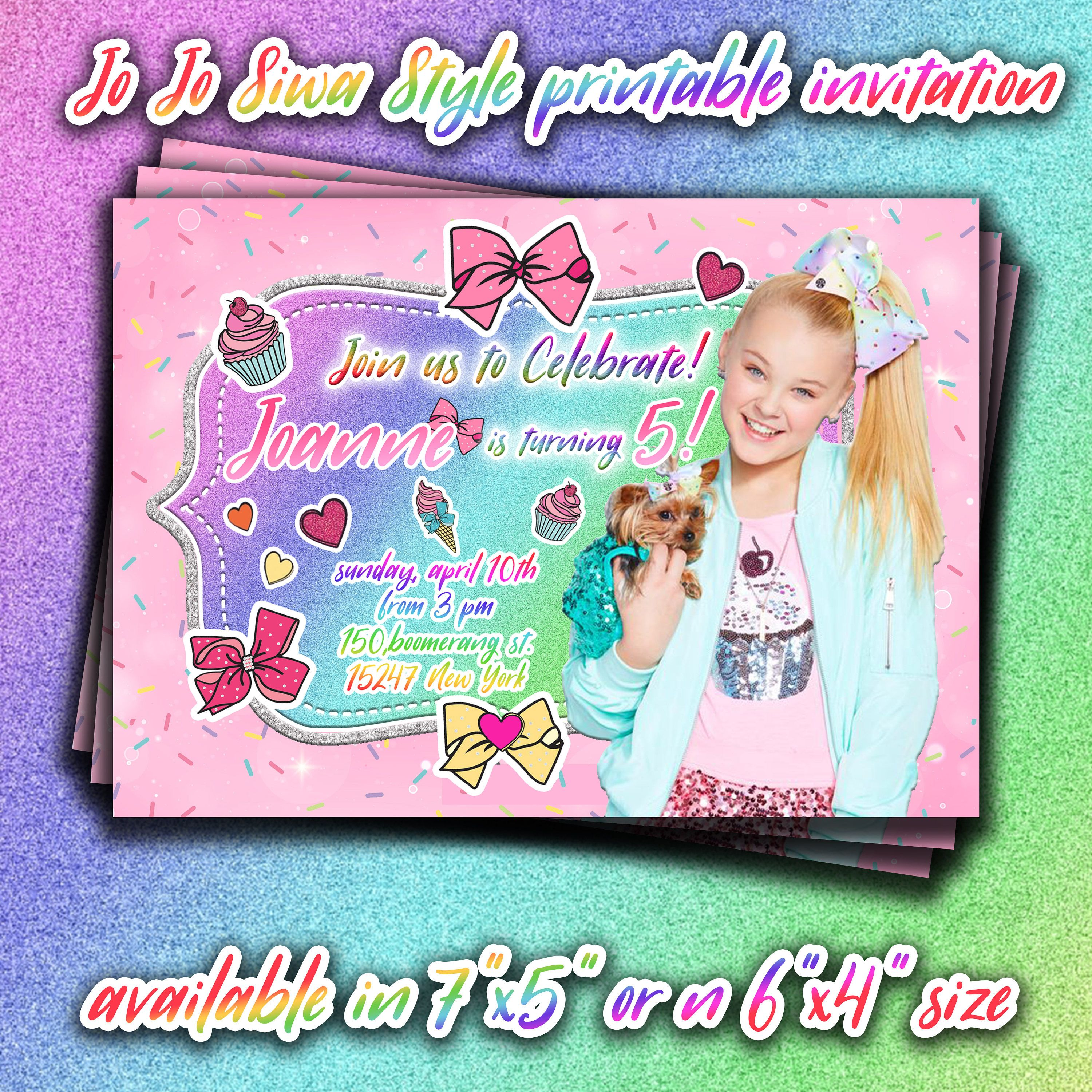 Jojo Siwa Birthday Printable Invitationjojo Siwa Personalized
