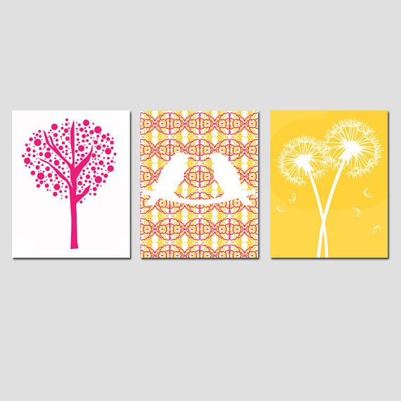 Nursery Trio - Love Birds, Tree Dot, Dandelion Floral - Set of Three ...