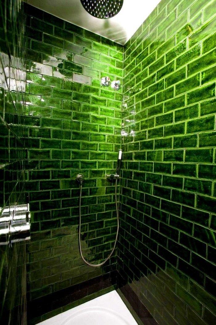 Metrofliesen Ausgefallene Badfliesen Grüne Wandgestaltung