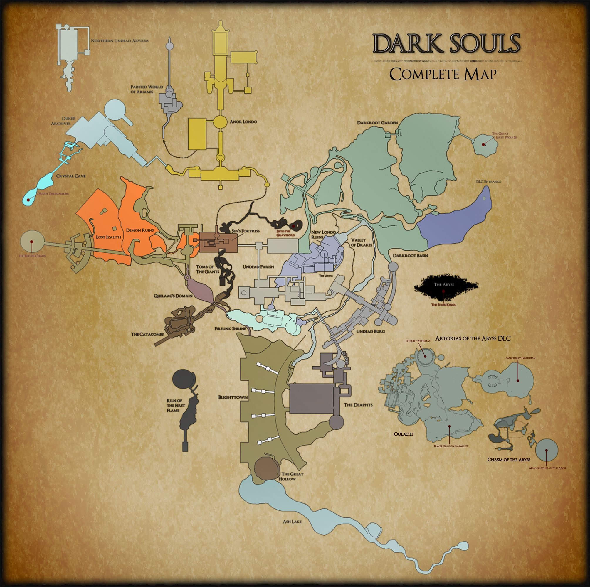 The first full Map incl. all DLC Content of the first Dark Souls ...