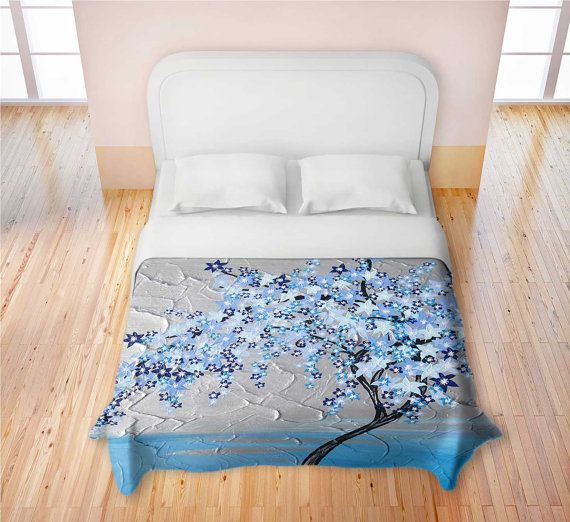 Blue Cherry Blossom Duvet Cover Quilt Covers For King Queen Twin