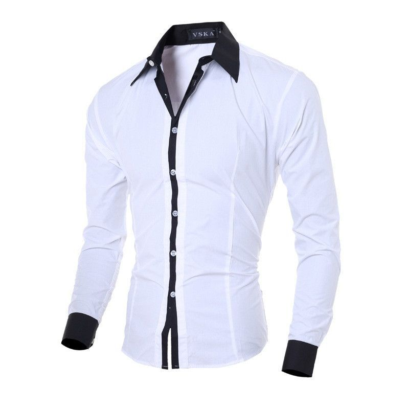 Mstyle Mens Business Solid Color Classic Slim Long Sleeve Button Down Dress Work Shirt