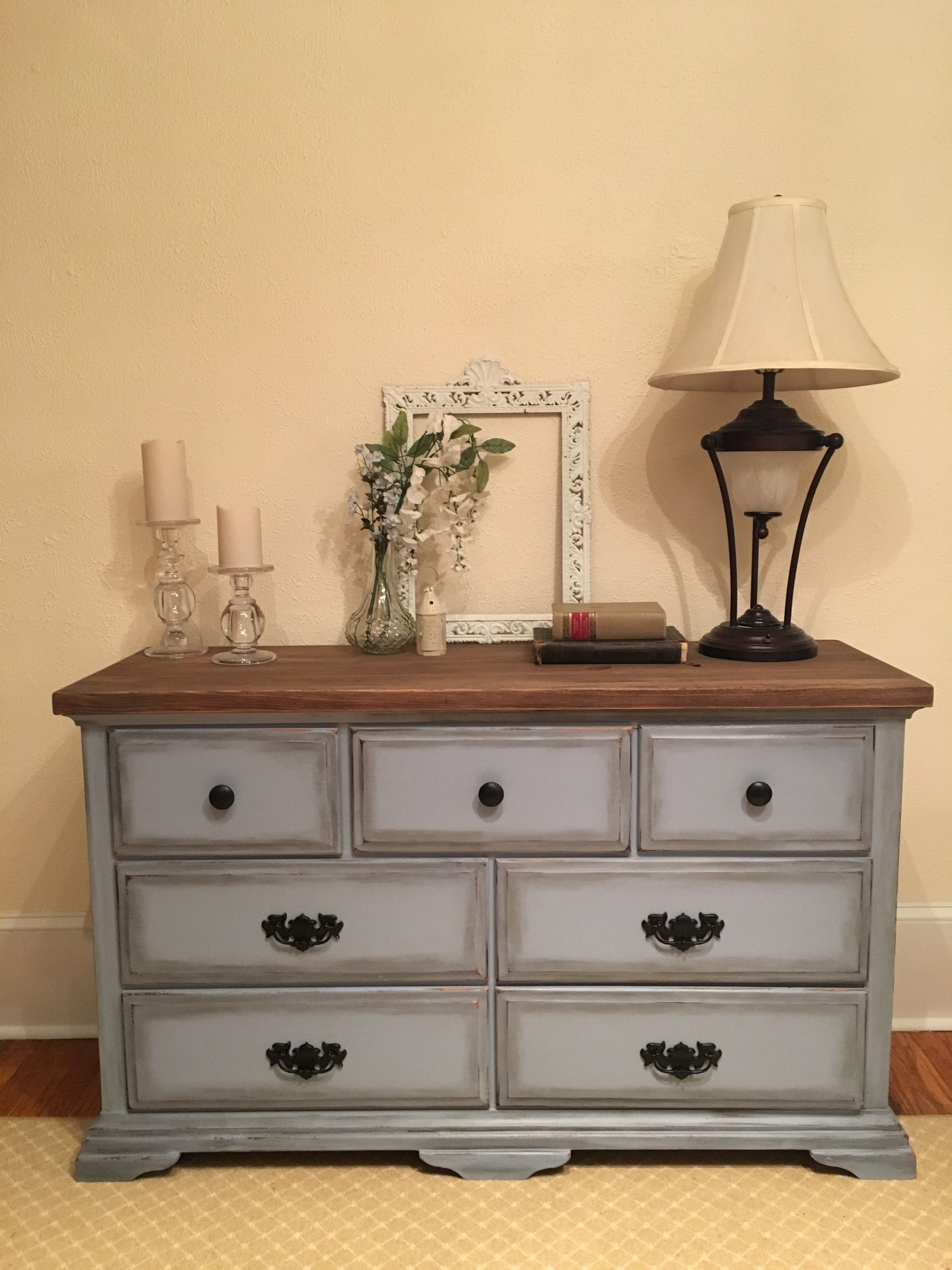French Blue Dresser ~ Custom blend of paint, weathered wood top ...