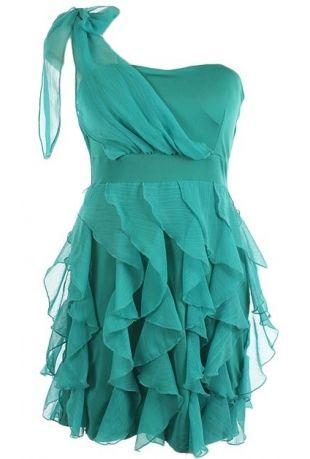 cascade ruffle chiffon overlay bow tie shoulder one shoulder woven dress.95% rayon 5% lycra.Measures 33