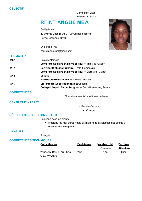 Cv Preview Ecole Elementaire Curriculum Vitae Scolaire