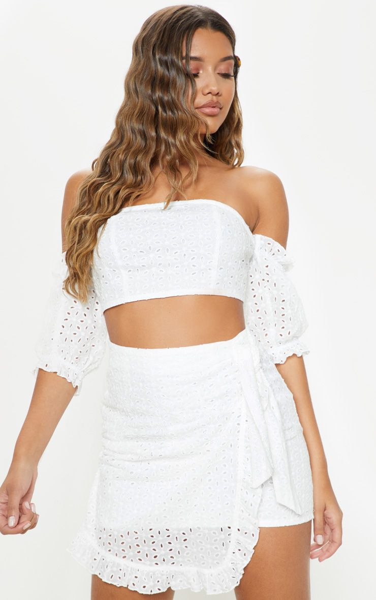 d195e8a84df White Broderie Anglaise Bardot Tie Back Crop TopYou can't go wrong with broderie  anglaise